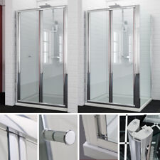 Bifold shower door enclosure screen side panel stone tray free waste