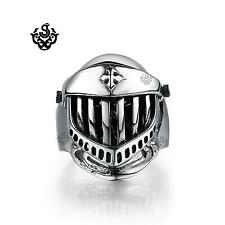 Silver biker ring solid stainless steel skull knight helmet band openable