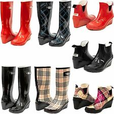 Women Wedge Heel Rubber Rain Boots Short Ankle & Tall Mid-Calf Waterproof Boots