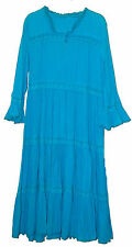 Carol Wior Cotton Gauze Lounging Robe with Long Sleeve and Zip up Front