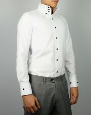 Mens New Slim Skinny Fit White High Collar Dress Shirt 03 Size S-XXL