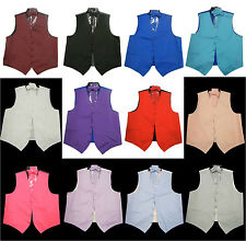 NEW Mens Dress Vest with Bow tie, NeckTie and Hanky Full Set 12Colors All sizes