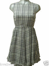 NEW Ladies Black white Check Print Chiffon Swing Fashion Dress Women Size 10-14