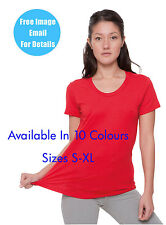 American Apparel Short Sleeved T Scooped Neck Womens Tee In 10 Colours AA056 New