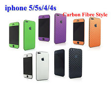 iPhone 5/5s/4/4s ***  Carbon Fibre Style Full Body Luxury Vinyl Skin Sticker