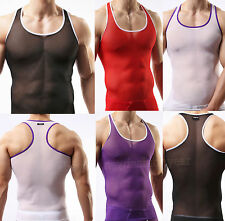 Super Sexy Men's Thin Mesh Sleeveless Shirts Underwear Sheer Tank Top Vest M L X