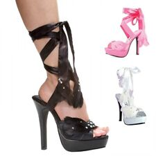 Sexy High Heels Adult Womens Shoes Rhinestone Feather Ankle Ribbon Straps