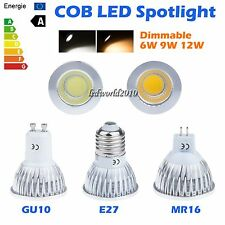 Dimmable 6W 9W 12W MR16 GU10 E27 LED COB Spotlight Down Light Lamp Bulb Warm Day