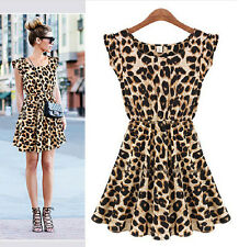 HOT Leopard Print Party Tunic Skater Swing Empire Waist Mini Dress SZ (M L XL)