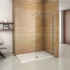 1950mm Walk In Wet room Shower Enclosure Easyclean Glass Screen Stone Tray Waste