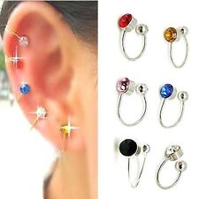 FD235 Clip On U Body Crystal Rhinestone Earring Nose Lip Ring Ear Cuff Stud 2pc/