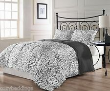 Snow Leopard TWIN Size Bed 3pc Reversible Charcoal Grey White Comforter Set