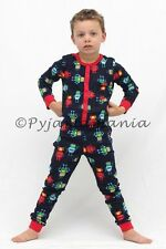 KIDS Boys Cotton Onesies Pyjamas Pjs Navy Blue Robots sz 3 4 5 6 7