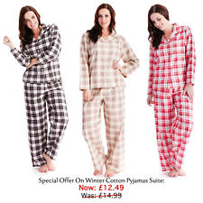 Ladies Traditional Flannel Winter Cotton Check Pyjamas Suite In 3 Colors