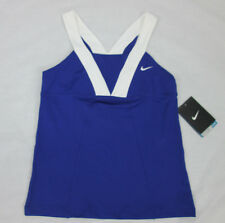 NWT Nike Girls Dri-Fit Sleeveless Tennis Athletic Tank Top Blue White 403578 Med
