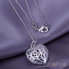 HOLLOW SILVER PLATED HEART PENDANT NECKLACE SILVER LUCKY CHAIN FOR WOMEN B42K