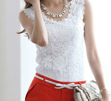 Women's spaghetti strap basic vest Floral Lace Crochet Sleeveless Tank Top Shirt
