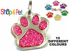 Pet ID Tag Quality 27mm Reflective Glitter Dog or Cat Tags +  ENGRAVED Options