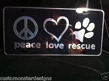 Dog Rescue Dog Lover License Plate All Mirror Plate & Chrome Vinyl Colors