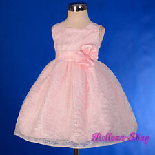 Lace Pink Party Pageant Wedding Flower Girl Dress Size Baby 9m to Toddler 4T 276