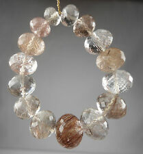 AA 15 x  LARGE COPPER RUTILATED QUARTZ FACETED RONDELLE  BEADS 5-11MM 60-65CTS