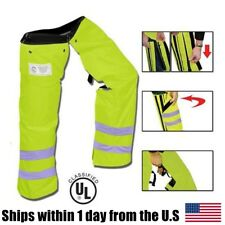 """Zipper Style Chainsaw Chaps Protective Leg Pants Safety Green Reflective 35"""""""