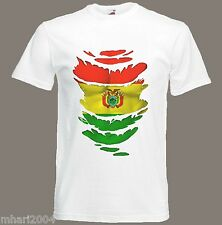 Bolivian Flag T-Shirt see Muscles through Ripped T-Shirt Bolivia Sizes S - XXXL