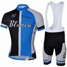 Blanco Cycling Clothing Jersey & Bib Shorts Kit Sets Coolmax Padding A26