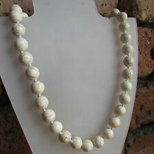 WHITE HOWLITE GEMSTONE ROUND BEAD NECKLACE - KNOTTED - ASSORTED SIZES