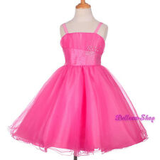 Rhinestones Tulle Pageant Dress Birthday Wedding Flower Girl Party Sz 2T-8 FG284