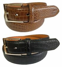 Sale MENS 2 pc BONDED LEATHER CASUAL DRESS CROCODILE CROCO SKIN BELT Brown Black