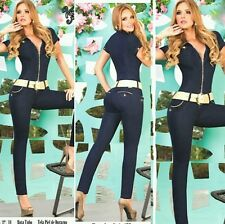 High Quality Women's JUMPSUIT DENIM Sexy CATSUIT JEAN OVERALLS-Hot Young fashion