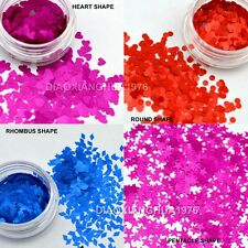 12 Colors Acrylic Art Glitter Sequins Nail Art Tips Decals 4 Shapes for Choice