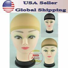 3 Color Unisex Nylon Bald Wig Hair Cap Stocking Liner Snood Mesh Stretch 4pcs