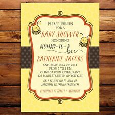 Bumble Bee Baby Shower Invitation - Set of 10 cards in any Color -- Birthday