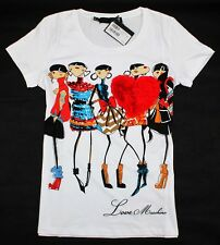 "Moschino ""Fashion Girls"" Women's Colourful 3D Chiffon Heart T-Shirt/Top 19129"