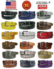 MEN FAUX ALLIGATOR CROCODILE SKIN GENUINE LEATHER STITCHED BELT w BELT BUCKLE