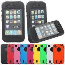 Black Background Silicone + Plastic Hard Cover Case Defender for iPhone 3G/3GS