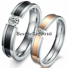 Couples Tension CZ Stainless Steel Love Engagement Promise Ring Wedding Band