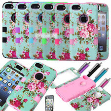 For Apple iPhone 5C Hybrid Impact Rugged Rubber Hard Soft Case Cover - Flowers