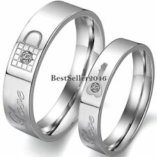 "Stainless Steel Lock Key "" Love "" Promise Engagement Ring Couples Wedding Band"