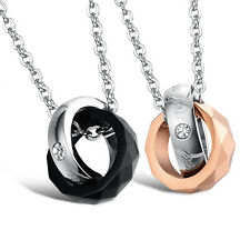 "Pair "" My Only Love "" Pendant Interlocking Ring Black Rose Gold Plated Necklace"