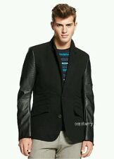 Rouge State Men Faux Black Leather-Sleeved Blazer Coat Jackets S/M/L/XL/2XL