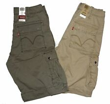 LEVI'S MENS CAVALRY CARGO SHORTS GREEN BEIGE TAN NWT FREE SHIPPING