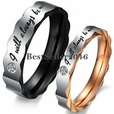 """Stainless Steel """" I Will Always Be with You """" Love Promise Ring Wedding Band"""