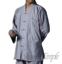 clothing chinese popular shaolin short gown~kung fu monk uniforms linen gray