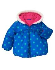 GYMBOREE COLOR HAPPY BLUE w/ GREEN DOTS HOODED PUFFER JACKET 6 12 24 2 3 4 5 NWT