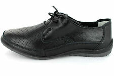 Down To Earth Women Black Leather Lightweight Lifestyle Shoe F3098