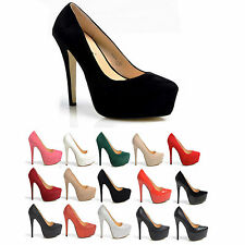 NEW WOMENS LADIES PLATFORM STILETTO HEEL PARTY HIGH HEEL SHOES SIZE 3-8