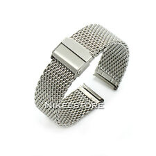 18 20 22 24 mm Silver Stainless Steel Bracelet Strap Watch Mesh Replacement Band